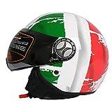 Tank TK-701 Jet Pilot Mofa Chopper Cruiser Scooter Retro Vespa Helmet Open Face Casco Moto da Motociclista Bandiera Italiana Stile ECE Certificato con Visiera,M57~58cm