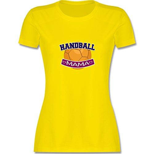 Muttertag - Handball Mama - tailliertes Premium T-Shirt mit Rundhalsausschnitt für Damen Lemon Gelb