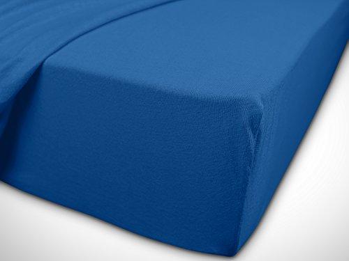 npluseins klassisches Jersey Spannbetttuch - erhältlich in 34 modernen Farben und 6 verschiedenen Größen - 100% Baumwolle, 90-100 x 200 cm, royalblau - 7