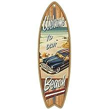 Cita de Playa, Verano Tabla de surf de madera con placa de letrero en inglés