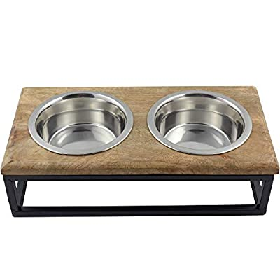 CJ's Double Raised Pet Feeding Station with Stainless Steel Bowls and Industrial Metal/Wood Stand from CJ's Pets