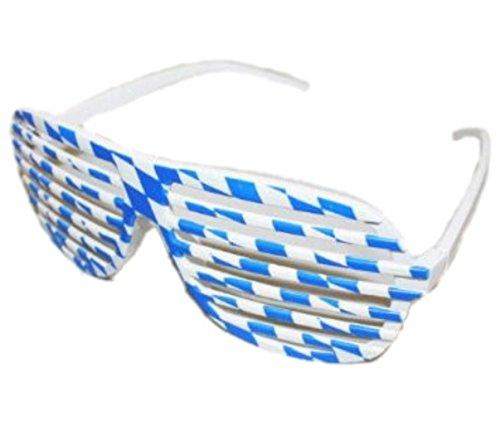 HAAC Atzenbrille Shutter-Brille Partybrille Brille Bayern Raute Muster Farbe blau / weiss für Oktoberfest Bierfest Parties