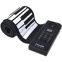 ammoon Tastiera a 61 tasti, elettronica, in silicio, flessibile, con supporto e ingresso USB, con altoparlante