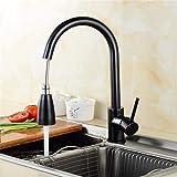 Wasserhahn Vintage Messing Chrom Wasserhahn Schwarz mit Ausziehbrause Einhebelmischer Spüle Einhebel-Waschtischmischer