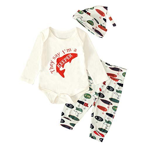 Isshop Baby Kostüm Neugeborenes Baby Angeln Jagd Tops Strampler Hosen Hut Outfits Fischer Set Casual Comfort Set für Jungen und Mädchen (Neugeborenen Angel Kostüm)