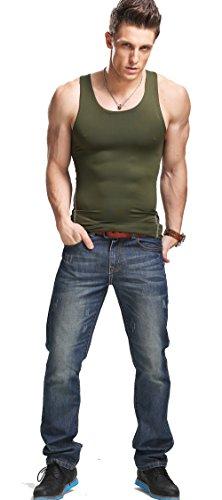 XDIAN Herren Stringer Tank Top Bodybuilding und Fitness Bekleidung | Muskelshirt Herren | Ärmelloses T Shirt Amy Green
