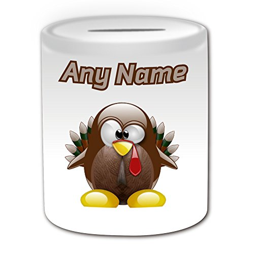 Personalisiertes Geschenk – Türkei Spardose (Design Pinguin Tier Kostüm Thema, weiß) – alle Nachricht/Name auf Ihre einzigartige – Silly Funny Neuheit kawaii Humor Anime Animation Art Clipart Zeichnung Malerei Cartoon Bird Chicken Farm Farmer Domestic Wild (Farm Boy Kostüm)