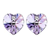 Swarovski Elements 18K White Gold Plated Earrings Encrusted with Purple Swarovski Crystals, SWR-432