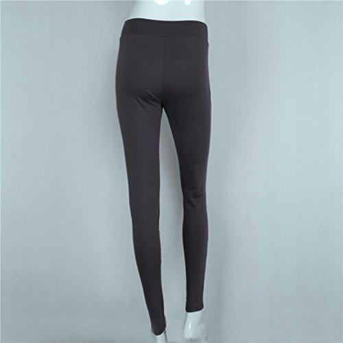 YAANCUN Donna Moda Maglia Cava Traspirante Leggins Sportivi Pantaloni Da Ginnastica Fitness Yoga Gym Pantacollant Grigio
