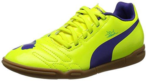 Puma evoPOWER 4 IT Jr, Unisex-Kinder Hallenschuhe, Orange (fluro yellow-prism violet-scuba blue 04), 34 EU (1.5 Kinder UK)