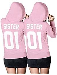 SISTER SISTER Hoodie SET - Best Friends Beste Freundin Pullover Light-Pink - XS-XXL