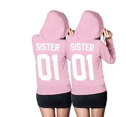 *SISTER Hoodie SET – Best Friends Beste Freundin Pullover Light-Pink – XS-XXL (Sister Gr. M + Sister Gr. M)*