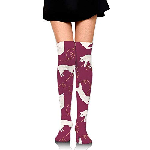 Preisvergleich Produktbild Voxpkrs Women's Tube Stockings Love My Cat Over The Knee Athletic Women Sexy High Knee Long Socks Cushion Outdoor Hiking Walking Stocking S31
