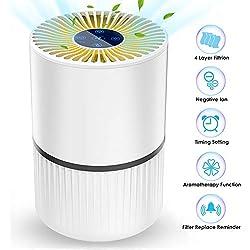 Purificateur d'Air Anion, Air Ioniseur Maison avec Filtre à Charbon, Economie d'Energie min 0,24 W, 3 Vitesses et 2/4/8H Minuterie, Veilleuse, sans Ozone, Elimine 99,97% de Fumée Allergènes Poussière