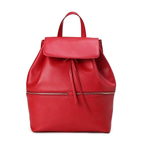 Zaino donna elegante in pelle Tempo libero Università Viaggio con coulisse DUDU Rosso