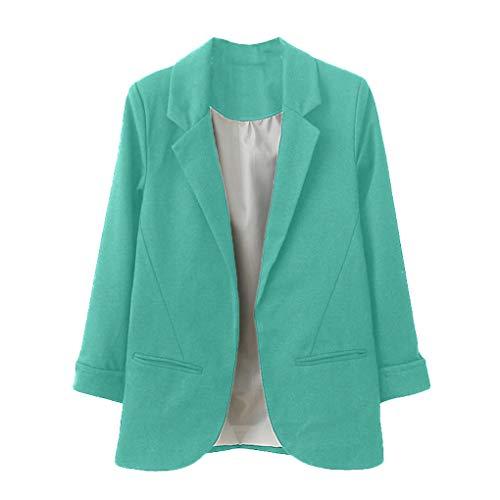 Dorical Oberteile, Damen Damen Elegant Langarm Blazer Sakko Einfarbig Slim Fit Revers Geschäft Büro Jacke Kurz Mantel Anzüge Bolero,Ideal für Party und Oktoberfest Gr XS-2XL(Grün,X-Large)