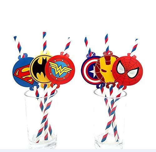 KBWL Party Supplies Superheld Justice League Avengers Thema Schluck Party Dekoration Biologisch abbaubares Papier Strohrohr Superheld