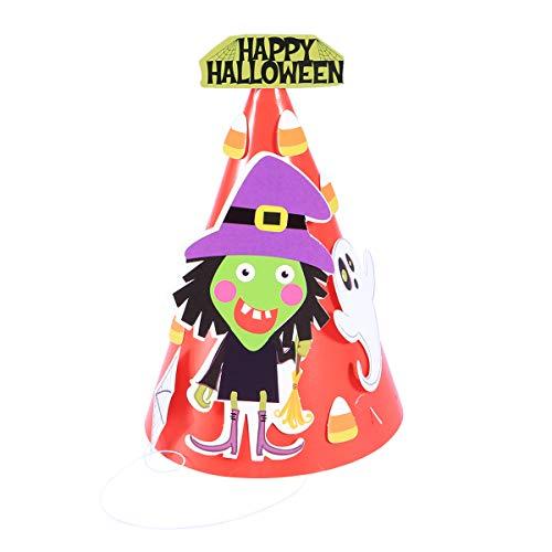 Bestoyard bambini halloween cappelli di carta materiale per berretti cartoon fai da te bambini ornamenti di halloween decorazione per feste (strega)