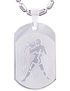 DonDon 55 cm Edelstahl Halskette mit Edelstahl Sternzeichen Wassermann Anhänger in einem Samtbeutel