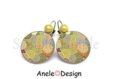 Boucles d'oreilles * Motifs géométrique * vert orange bijou femme cabochon bronze vintage