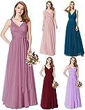 Ever-Pretty Vestido de Fiesta Noche Largo Cuello V Ceremonia Dama de Honor para Mujer Orquídea 46