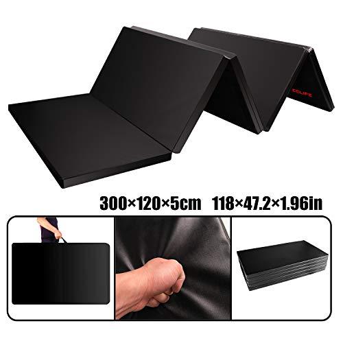 CCLIFE 300x120x5cm Klappbare Weichbodenmatte Turnmatte Fitnessmatte Gymnastikmatte rutschfeste Sportmatte Spielmatte, Farbe:Schwarz 4-Fach faltbar