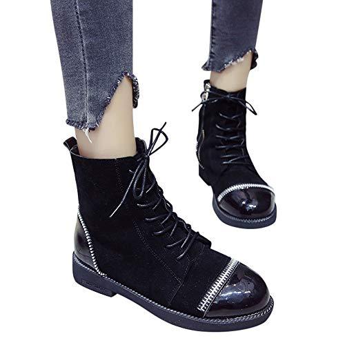 TianWlio Stiefel Frauen Herbst Winter Schuhe Stiefeletten Boots European Ins Style Mode Reißverschlussdicke Schuhe Stiefel Mit Runder Spitze