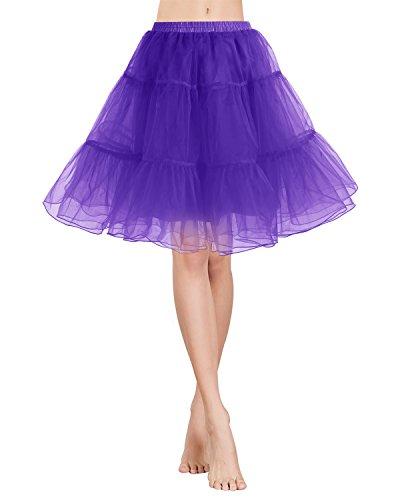 (Gardenwed Tutu Damenrock Tüllrock 50S Retro Rockabilly kurz Petticoat Ballet Tanzkleid Unterkleid für Cosplay Crinoline Party Purple L)