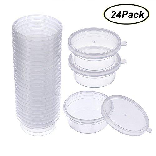 Swallowzy 24 Pièces Bouteille en Mousse Containers Boules de Styromousse Boîtes en Plastique avec Couvercle pour 20g Boue Slime Neige