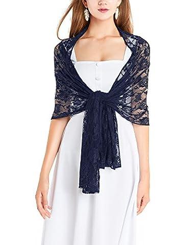 Timormode Spitzen Stolen Damen Tuch Floral Blumen Damen Schal aus Spitzen 10208 Marineblau 180cm*50cm
