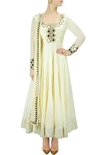 SK Fashion Women's White Color Semi-Stitched Bollywood Style Anarkali Salwar Suit/Gown