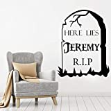 YANCONG Halloween PVC Wandkunst Aufkleber Aufkleber Wandhauptwanddekor Wohnzimmer Flur Wandaufkleber Personalisierte Grabstein