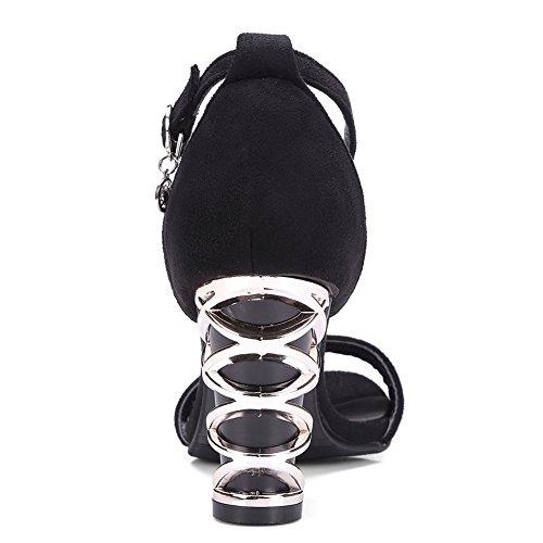 Damenschuhe Open Toe Sandalen High-Heel Blockabsatz Knöchelriemchen Schwarz