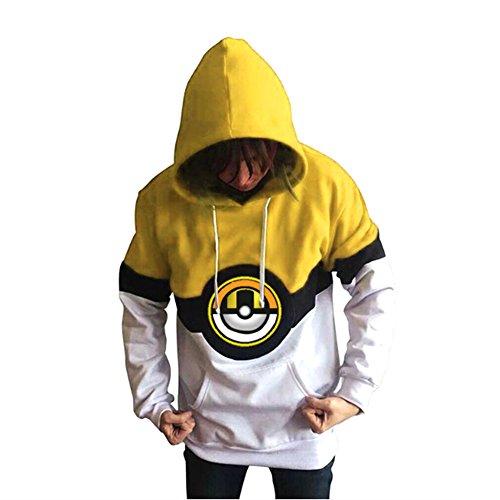 Plus size unisex giallo Pokemon felpa con cappuccio, maglione, Jumper, causale Wear Fancy Dress taglia XL