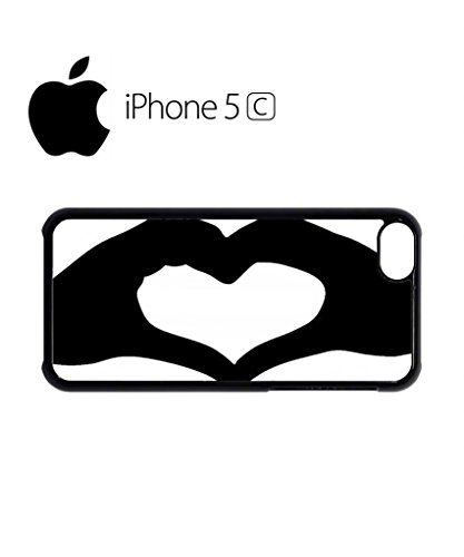Heart Shaped Hand Mobile Cell Phone Case Cover iPhone 5c Black Weiß