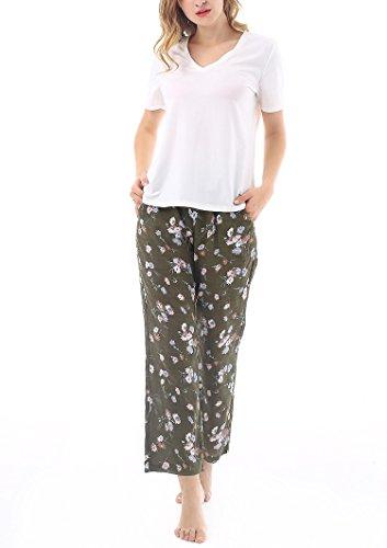 Yulee Women's Two-piece Short Sleeve Sleep Tee and Pj Pants Pyjama Set S-XXL