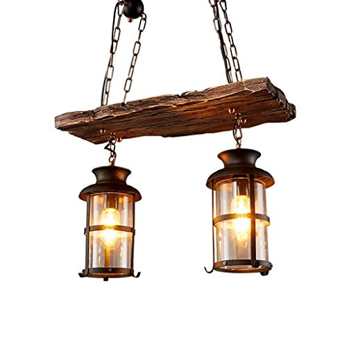 Holz-kronleuchter (Vintage Industrial Metall Pendelleuchte Leuchte, JOJOM Vintage Holz Kronleuchter 2 Kopf Vintage Industrial Style Retro Rustikal Vintage Industrial Edison Deckenleuchte Linear Kronleuchter 2-Lights)