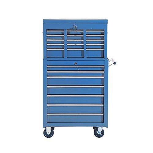 HOMCOM Fahrbarer Werkzeugwagen Werkstattwagen Rollwagen Werkzeugkasten (Blau) - 3