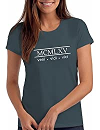 """Womens 1965"""" Veni Vidi Vici 53rd Birthday T Shirt Gift With Year Printed In Roman Numerals"""