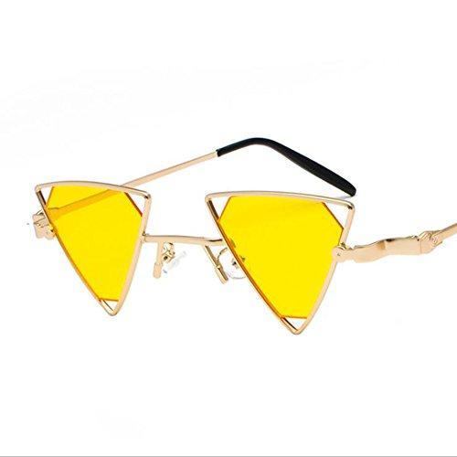 Ojo De Gato Gafas De Sol Punk Viento Triángulo Gafas De Sol De Recorte Personalidad Gafas De Sol De Metal Gafas De Exterior UV400 Para Conducir La Pesca Viajar Golf - Regalos Para Mujeres Hombres,Yellow