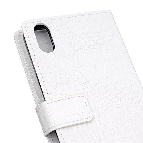 EKINHUI Case Cover Stilvolles Krokodil-Muster-Normallack PU-lederner schützender Abdeckungs-Fall-Flip-Standplatz-Fall mit Wallet-Funktion für iPhone X ( Color : Blue ) White