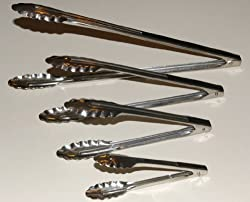 Complete Set of Four (4) Different Sized Utility Spring Tongs Including a 16 Inch Extra Heavy-Duty BBQ Tongs, a 12 Inch Salad Tongs, a 9 Inch Roll Tongs and a 7 Inch Tongs. All are Stainless Steel with Scalloped Edges and a spring action By 3P Company.