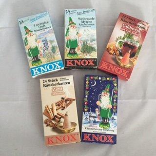 5er Set Knox Räucherkerzen (B): Lavendel, Weihrauch-Myrrhe, Glühwein, Zimt, Mischung