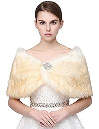 Belle House Champagne Faux Fur Shawl Wrap Stole Cape For Women Bridal Shawl Winter