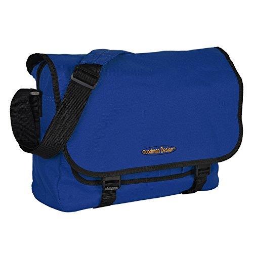 Praktische Umhängetasche / sehr robust : Tasche - mit Goodman Logo - Schultasche / Schultertasche / City Bag Farbe: royal / schwarz Royals Shirt Jugend