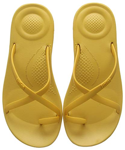 Fitflop Damen Prima iQushion Cross Slide - Solid Zehentrenner, Gelb (Baked Yellow 684), 40 EU -