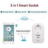 Yongse MS1 3in1 Multifunktionale Intelligente WLAN Steckdose integriert mit Alarmzentrale für Funk Haus Alarmanlagen System und Universal-Fernsteuerungszentrum für Smart Home