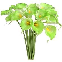 Piante Artificiali Calla, NNIUK Verdi 10pcs Eleganti Artificiale Fiore Vero Tocco PU Calla Mazzi Di Fiori Da Sposa Giglio