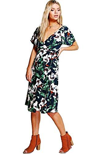 Navy Femmes Em manches évasées Floral Wrap Robe imprimée Marine