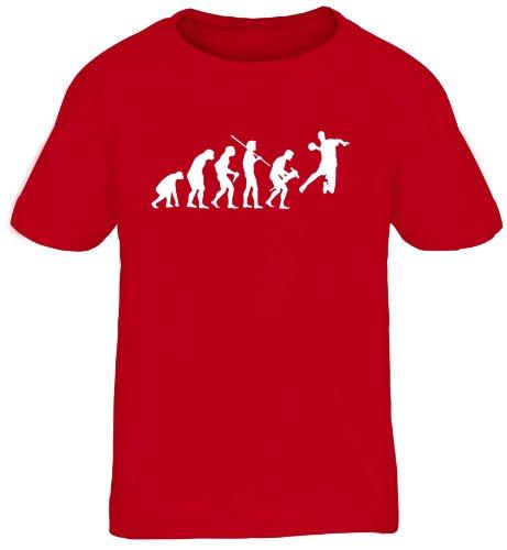 Shirtstreet24, EVOLUTION HANDBALL, WM EM Sport Kinder Fun T-Shirt , Größe: 152/164,rot